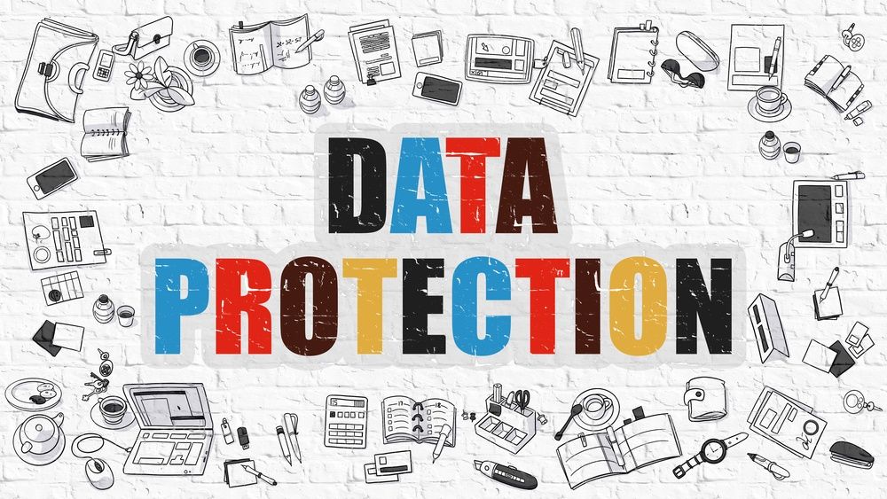 Data Protection Concept. Modern Line Style Illustration. Multicolor Data Protection Drawn on White Brick Wall. Doodle Icons. Doodle Design Style of Data Protection Concept..jpeg