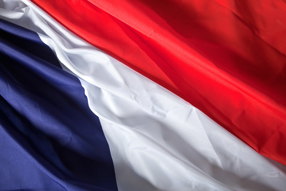 Picture of the French flag with wavy texture