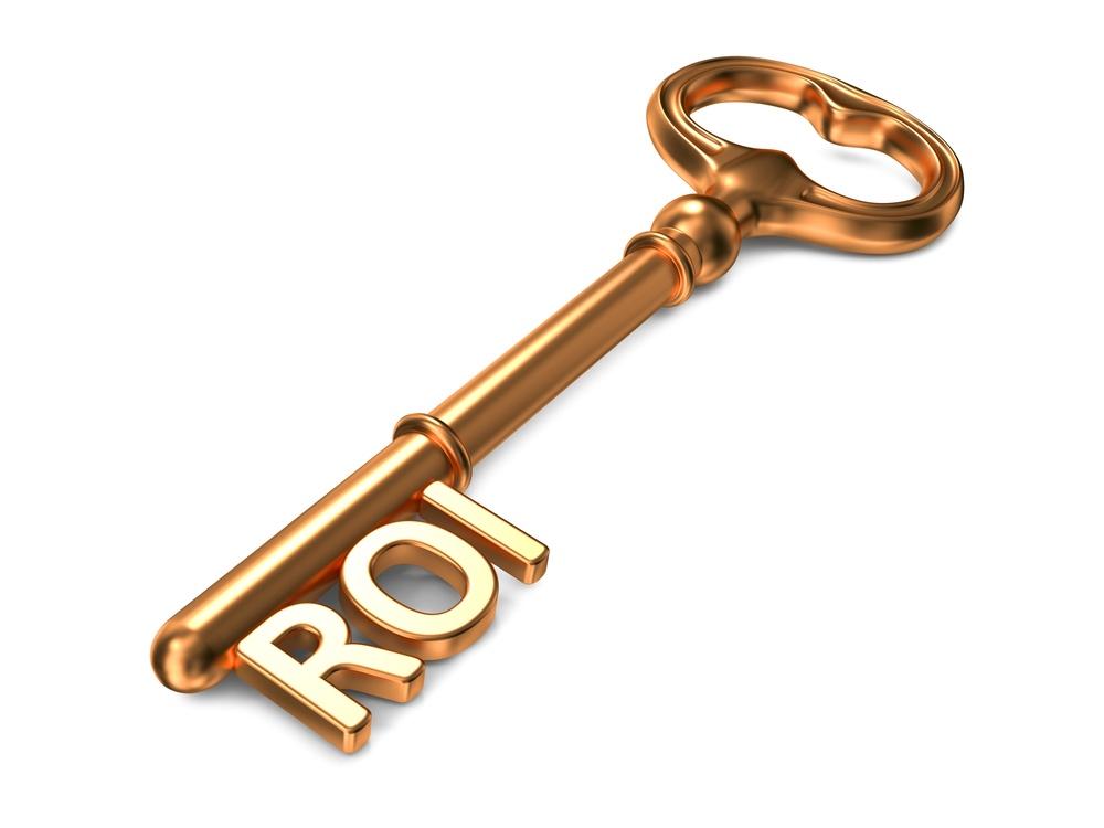 ROI - Golden Key on White Background. 3D Render. Business Concept.