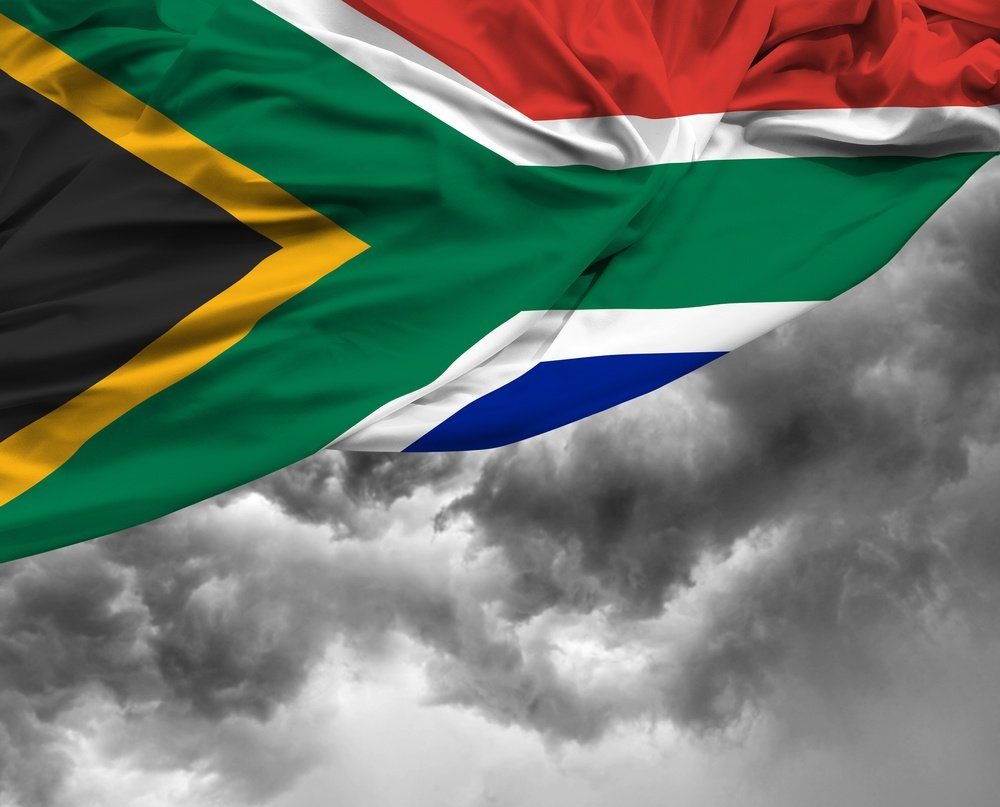 South African waving flag on a bad day
